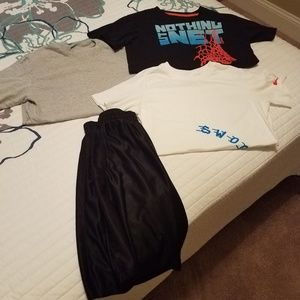 All four items:Boys athletic shorts and tee shirts